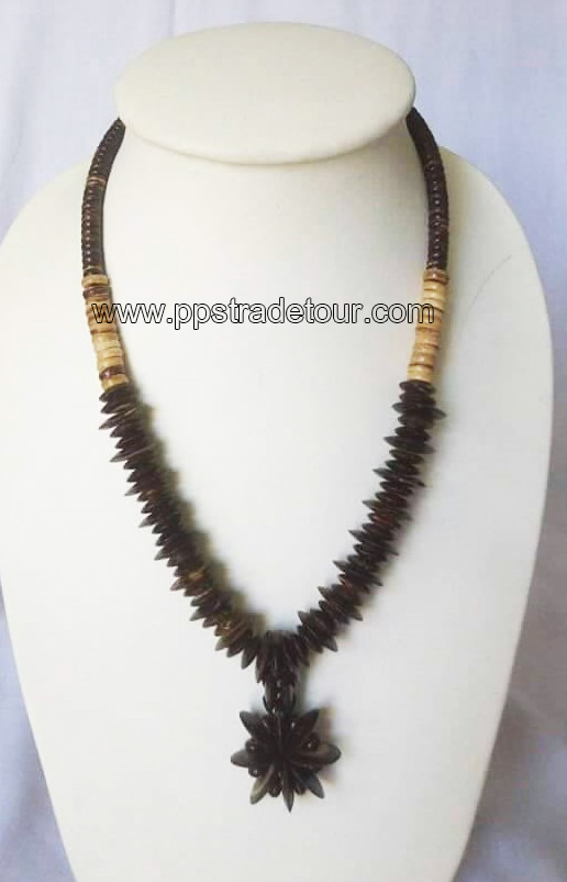 coconut shell bead necklace5835
