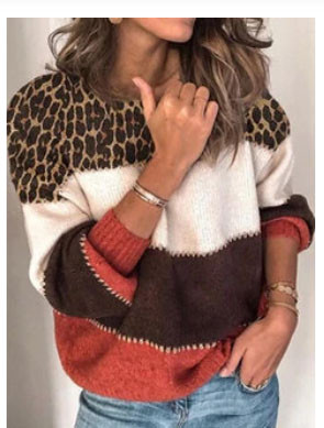 Leopard Printed O-neck Striped Long Sleeve Contrast Sweater SKUG10959