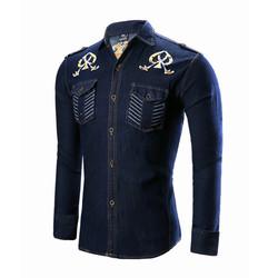 Professional Made Popular Delicate Simple Style Custom Printed Dark Blue  Denim Shirts For Men