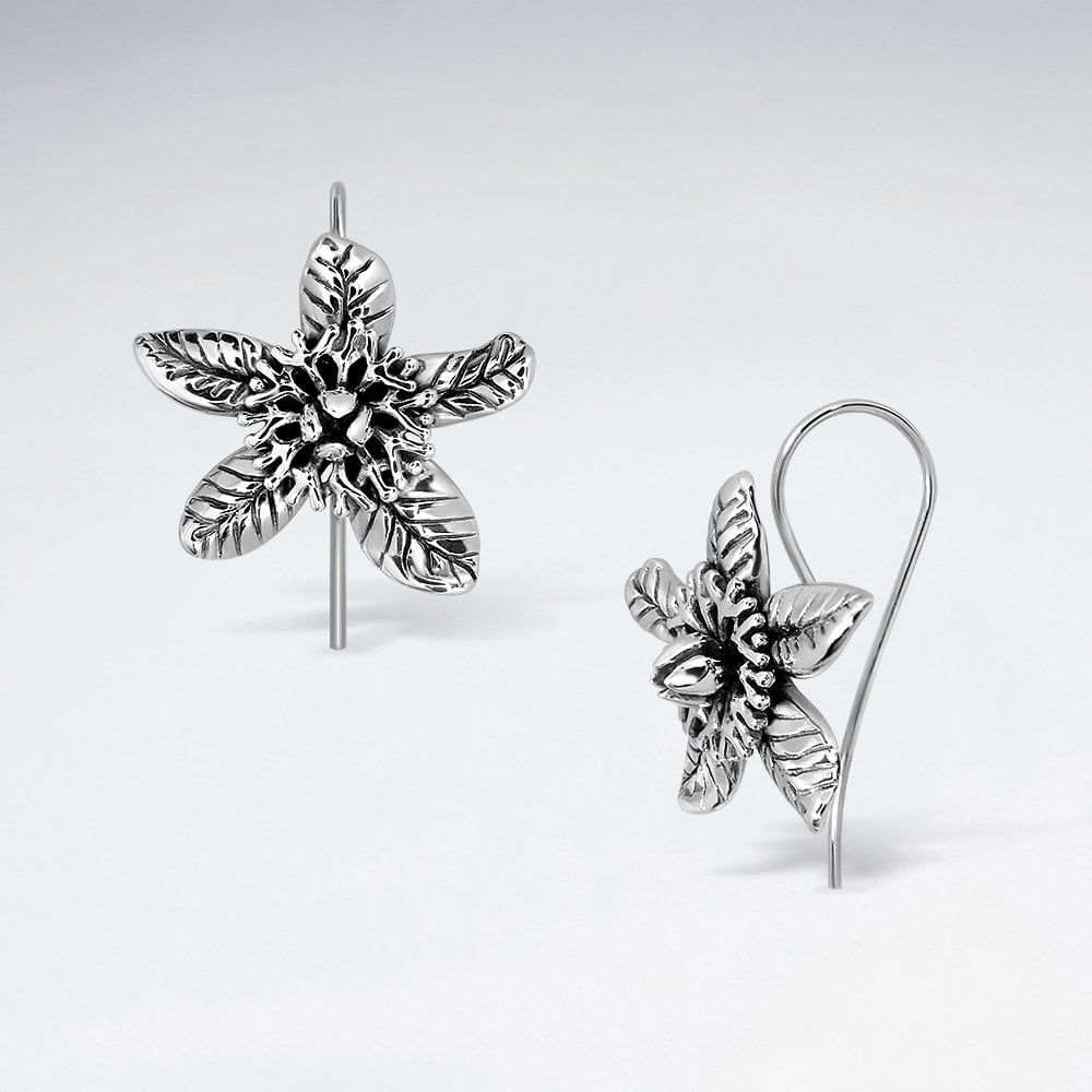 STERLING SILVER PENTAS STAR FLOWER HOOK OXIDIZED EARRINGS code: PS-ES2966BK
