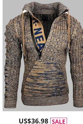 Mens Zipper Front Letter Knitted Designer Kangaroo Pocket Drawstring Sweater