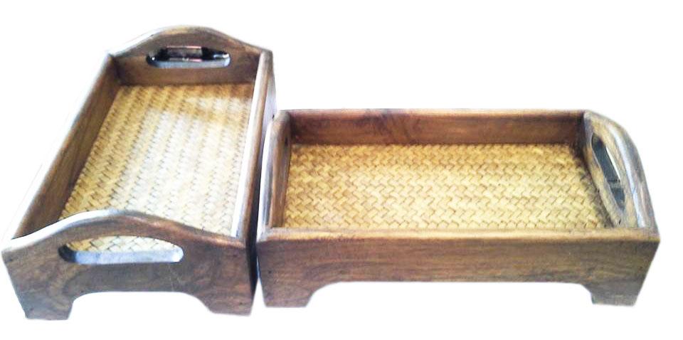 Wood square trays