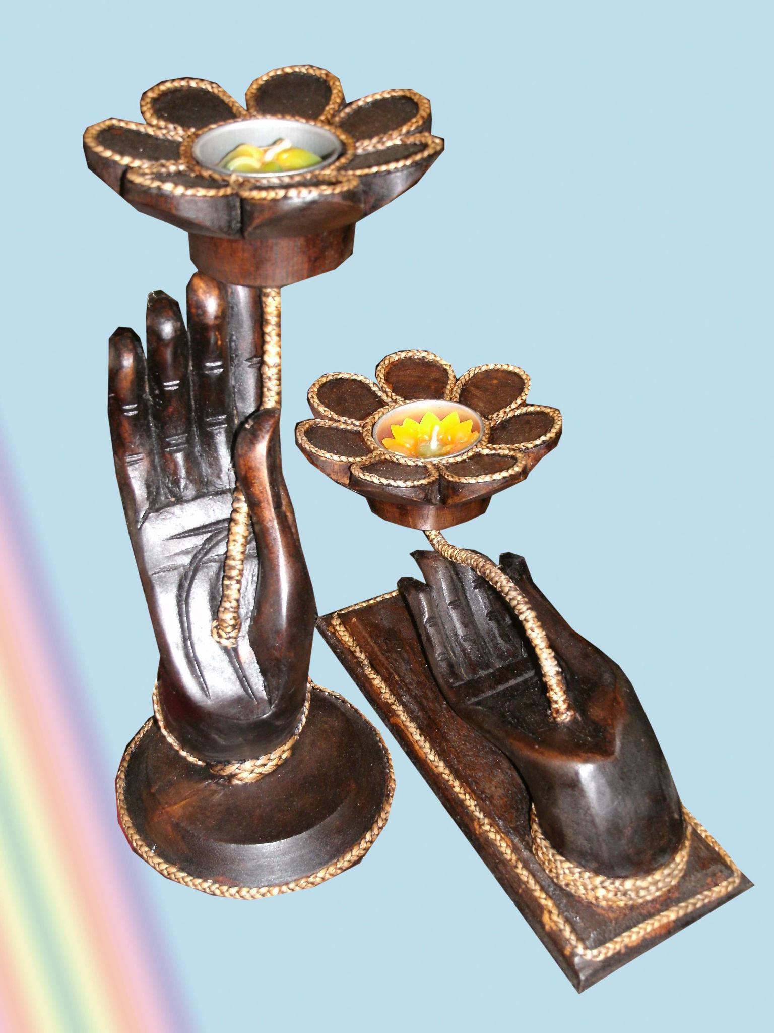 Wood hand candle holder-CHD-C1275