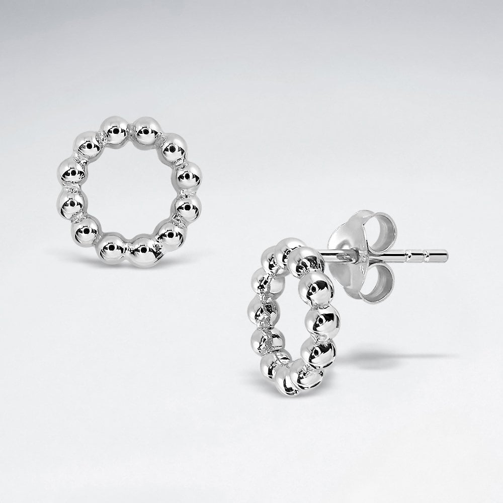 STERLING SILVER BALL HOOP WREATH STUD  Code: PS-ES2883