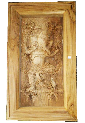 Ganesha God wood carved in frame