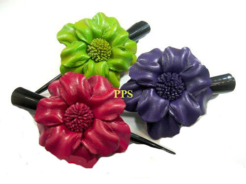 Leather Flower for hair Clips-g13
