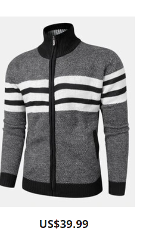Mens Knitted Stripe Zip Front Stand Collar Casual Warm Cardigans