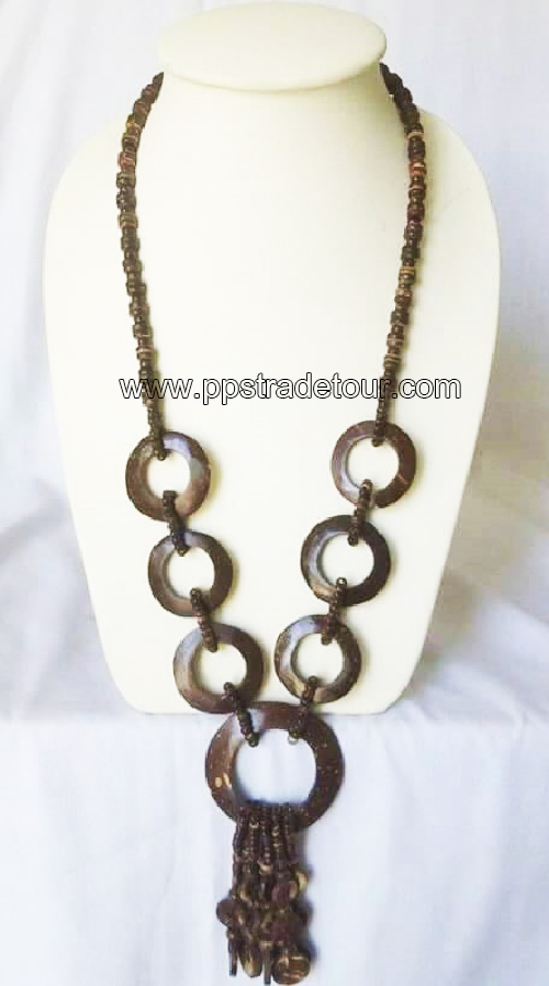 coconut shell bead necklace-5833