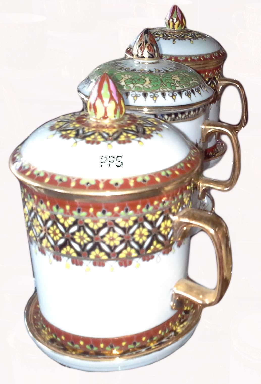 Benjarong Mug with lid -15
