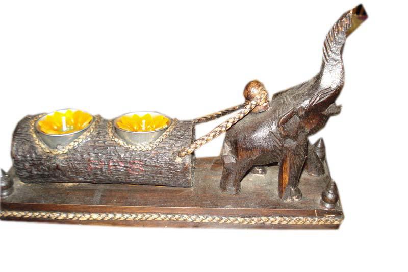 Wood elephant Candle Holder-CHD-10