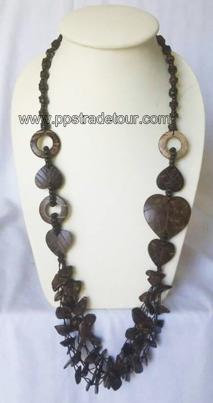 coconut shell bead necklace-5838