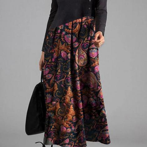 Ethnic Print Patchwork Long Sleeve Vintage Maxi Dress For WomenSKUG53091.png