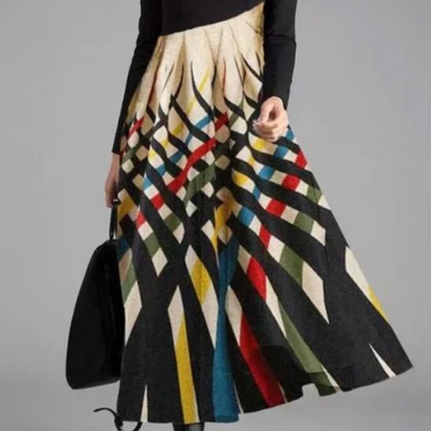 Contrast Color Print Patchwork Long Sleeve Maxi Dress For WomenSKUG38314.png