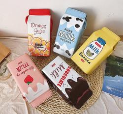 Fashion printing fruit milk Purse  mini phone wallet bags small pu leather female crossbody bag