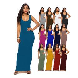 wholesale summer casual women's solid color sleeveless bodycon cami tank long maxi dress