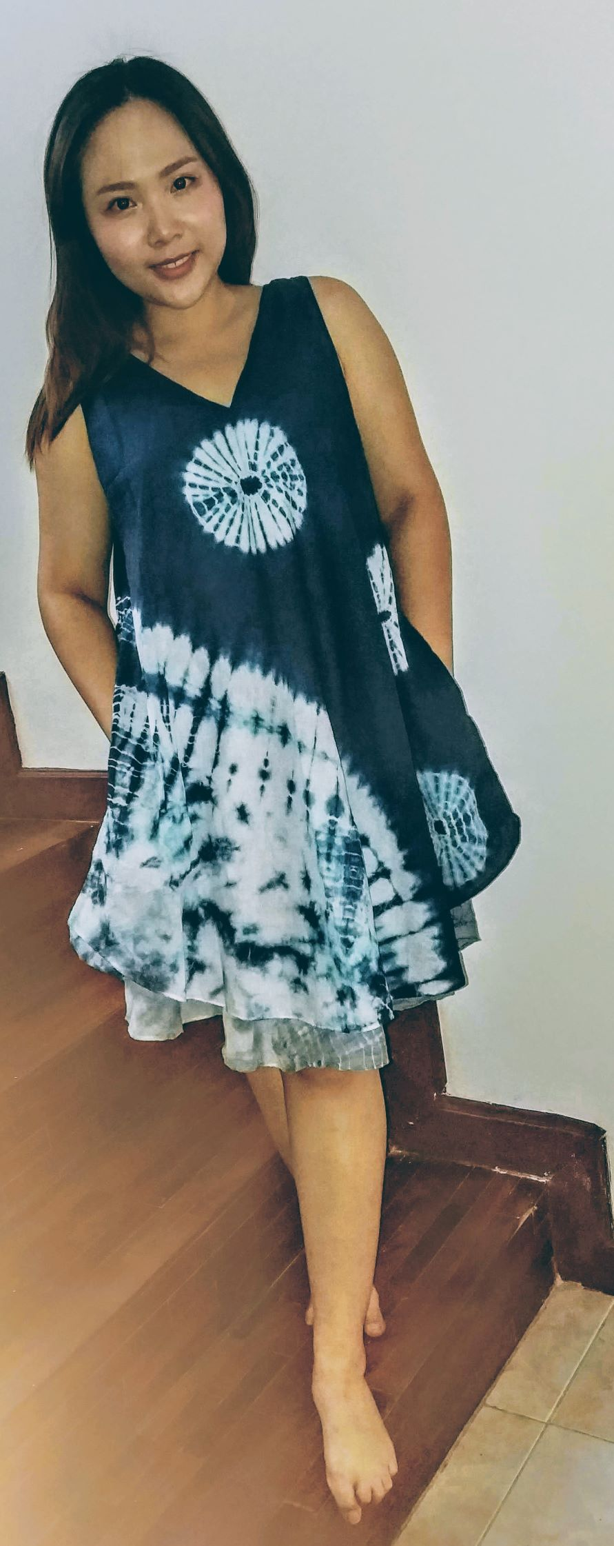 Cotton dyed short dress