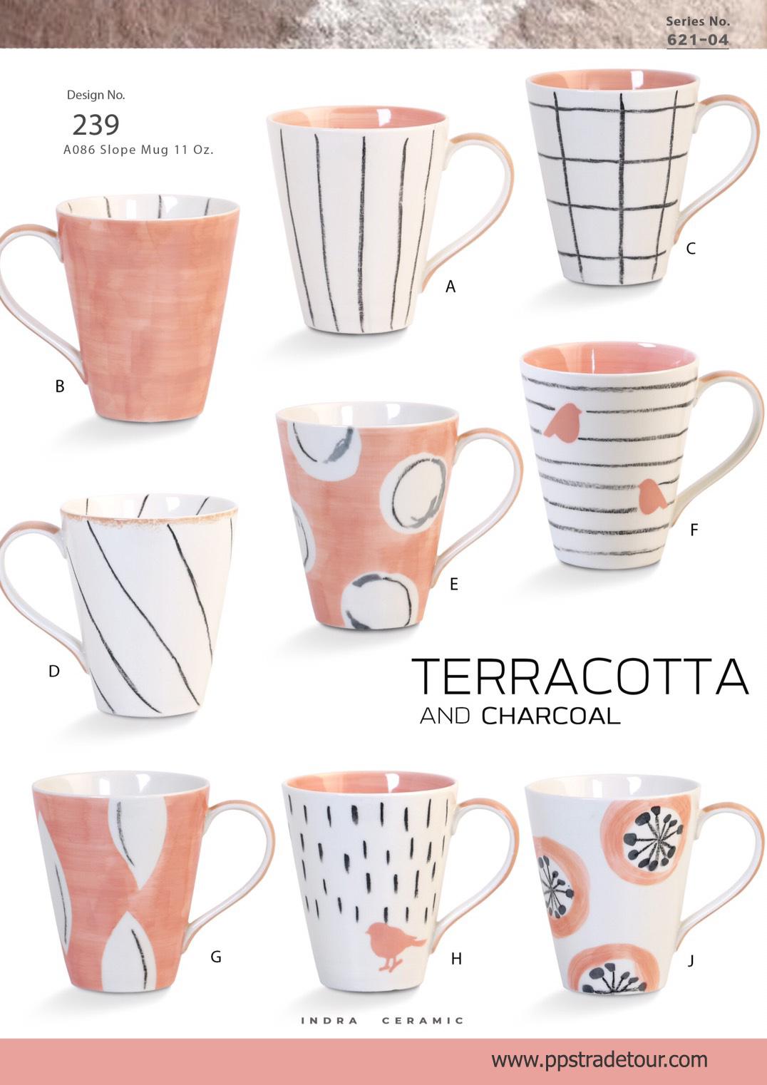 Terracotta and charcoal-Ceramic Mug 11 Oz.