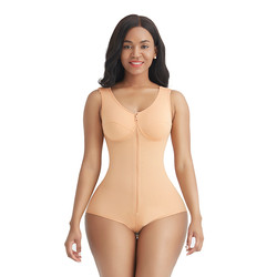 Comfortable Fabric Skin Color Wide Strap Front Zipper Full Body Shaper Slimming
