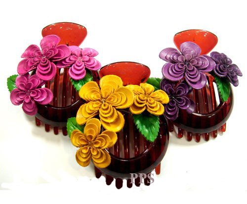 Leather Flower for hair Clips-g32