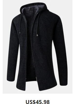 Mens Zip Up Plush Lined Cotton Knit Hooded Cardigans With Pocket