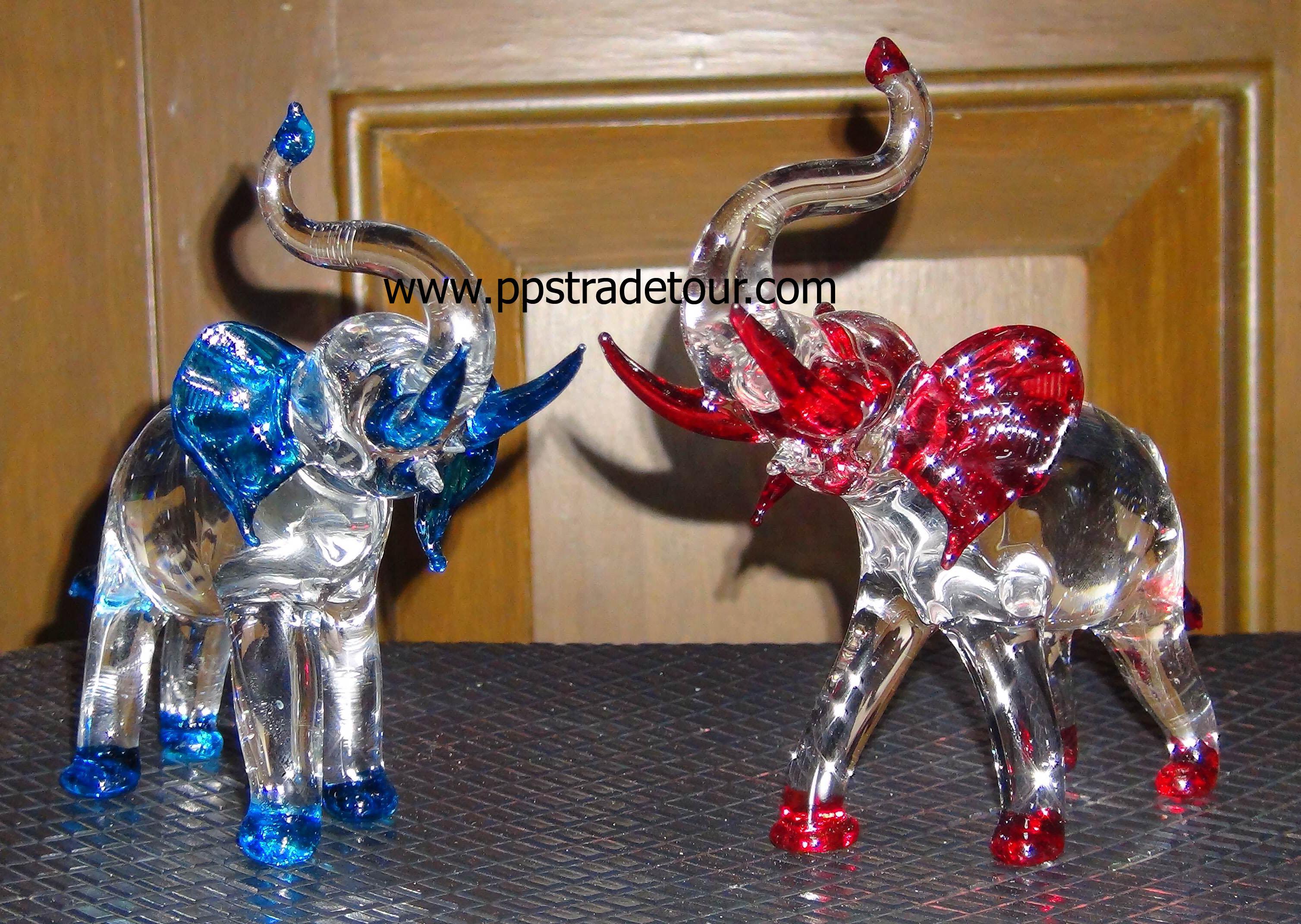 blown glass-elephants