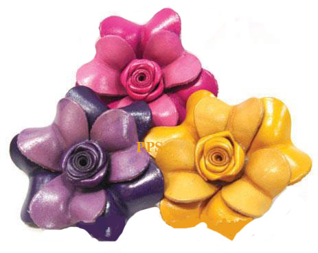 Leather Flower for hair Clips-fl12