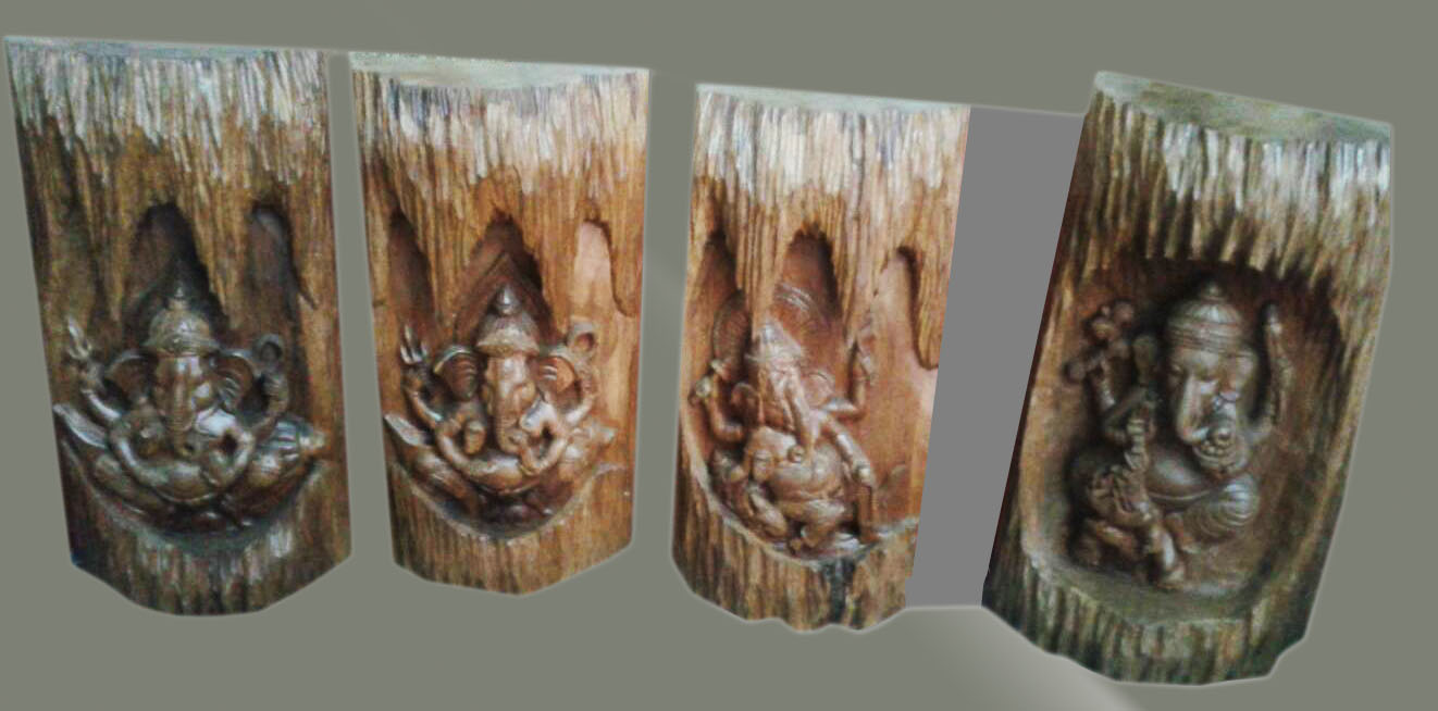 Ganesha Wood Carved