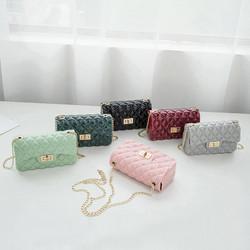 G035 fashion mini handbags ladies jelly chain bag colorful purses handbags with rhomboid from china
