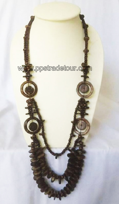 coconut shell bead necklace5831