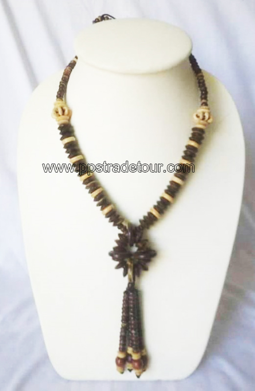 coconut shell bead necklace-5844