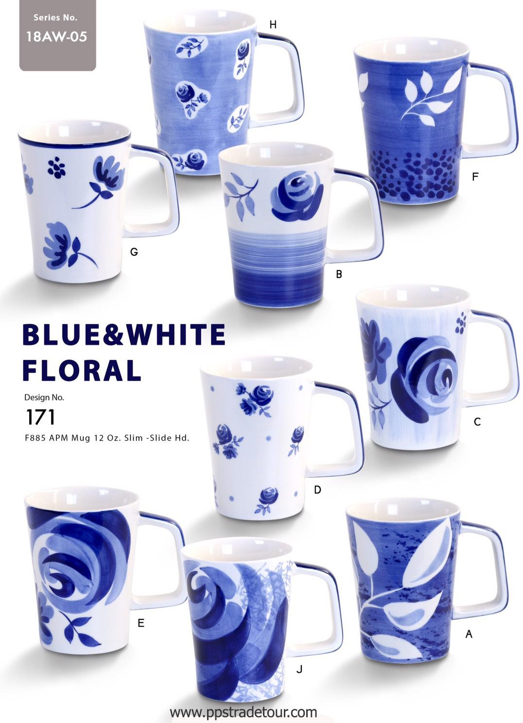 Blue and white Floral-Ceramic Mug 12 Oz.