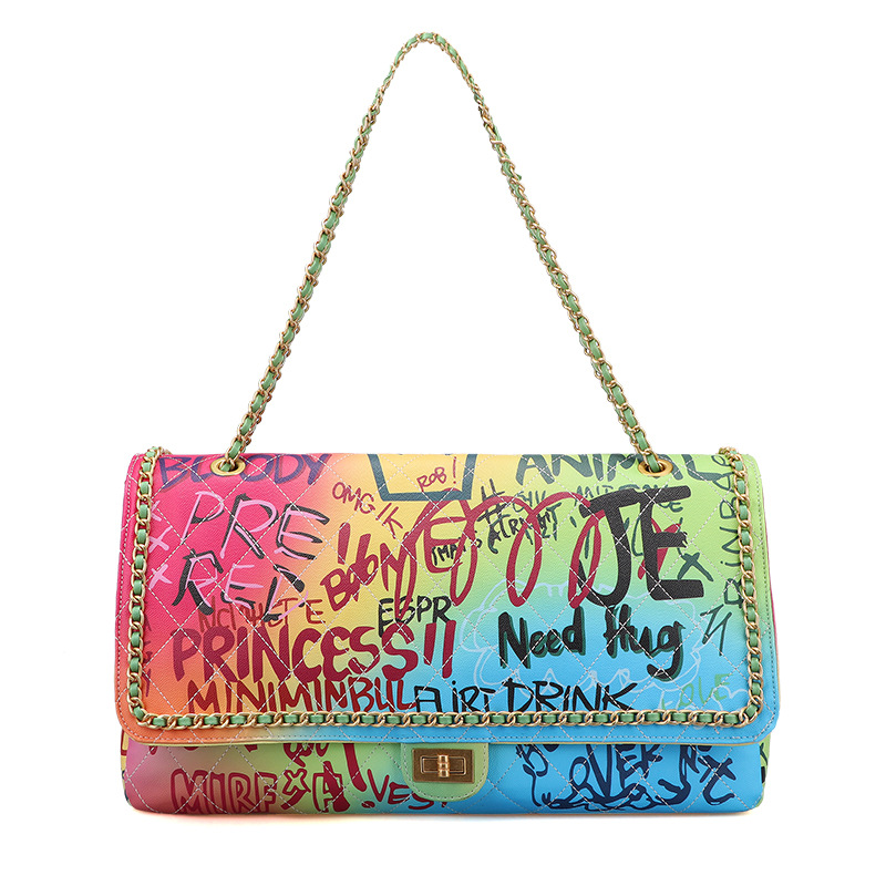 Wholesale High Quality Summer Candy Big Large Chain Shoulder Bag Travel Colorful Graffiti Jelly Bag