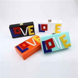Personalized Party Colorful LOVE Letter Acrylic Clutch Purse Chain Shoulder Bag Totes Messenger Bags