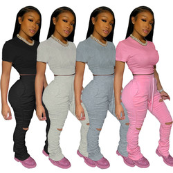 Sexy 2 Piece Sets Women Stacked Pants Sportswear Ripped Two Piece Outfits Women Clothing