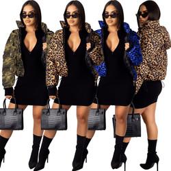 Dropshipping prom fashion winter wear hooded leopard print down coat woman bubble coats