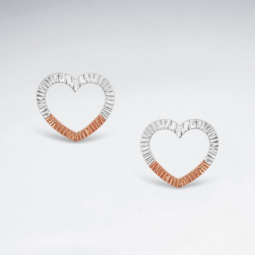 STERLING SILVER TEXTURED OPEN HEART SILVER AND 18K PINK GOLD PLATED EARRINGS code: PS-ES2904PKS1