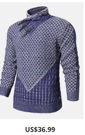 Mens Patchwork High Neck Slim Fit Designer Long Sleeve Sweate