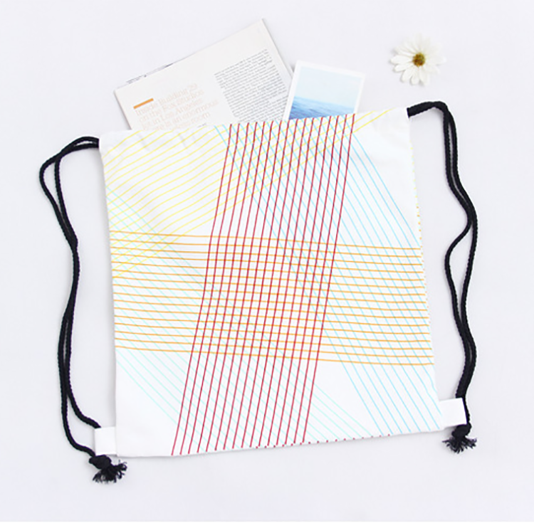Wholesale pattern student backpack white cotton canvas drawstring bag