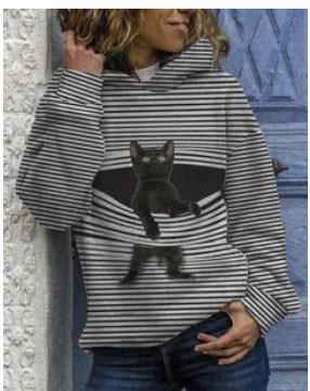 Black Cat Print Long Sleeve Casual Striped Hoodies For Women SKUG52801