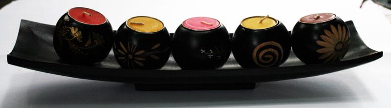 Wood candle holder-HC-036.2