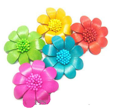 Leather Flower for hair Clips-fl3