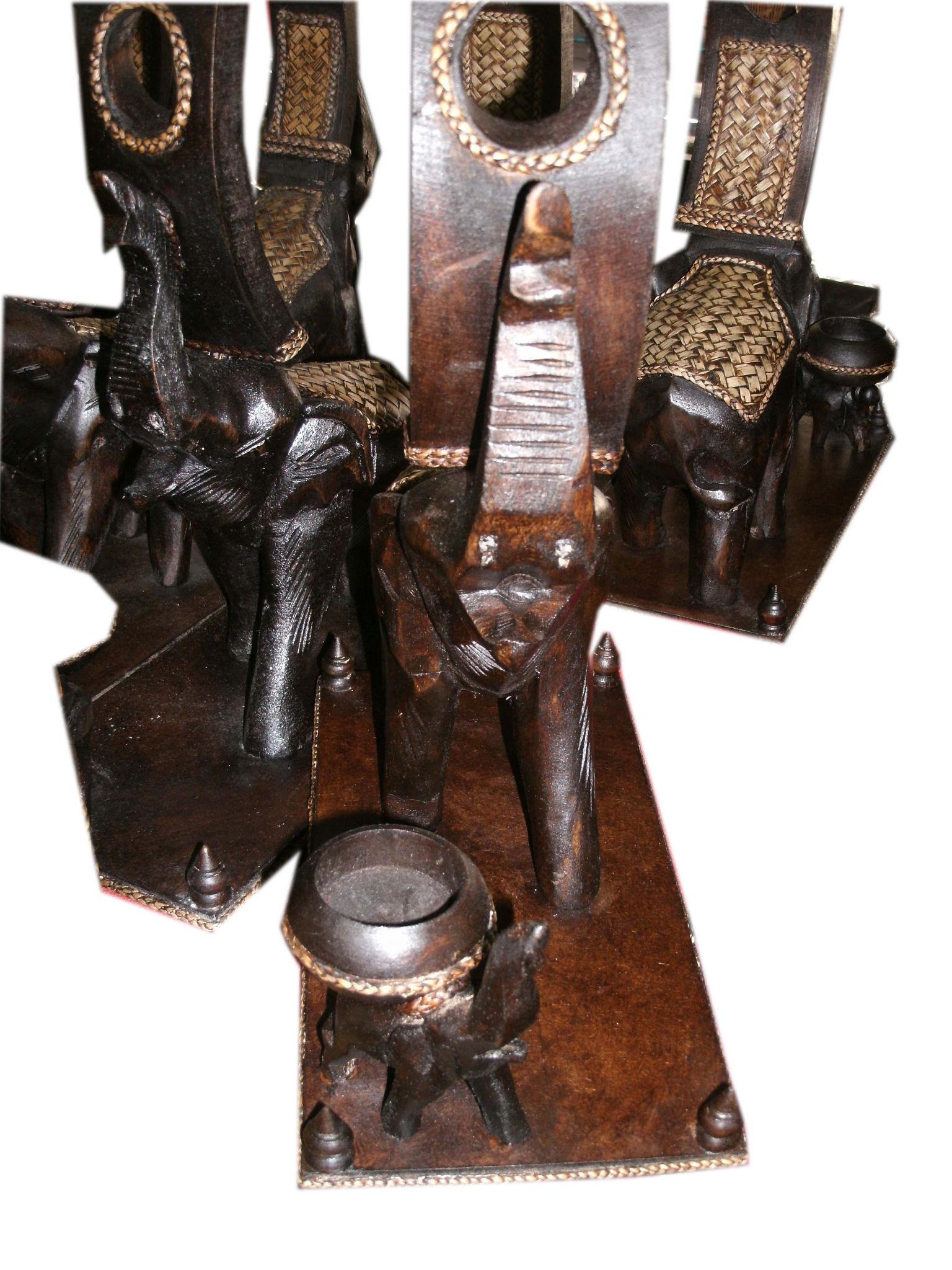 Wood elephant Candle Holder-CHD-C1273