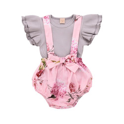 Summer Cute Toddler Infant Baby Girl Clothes Ruffle Sleeve Tops Overall Floral Short Outfits Set Bab
