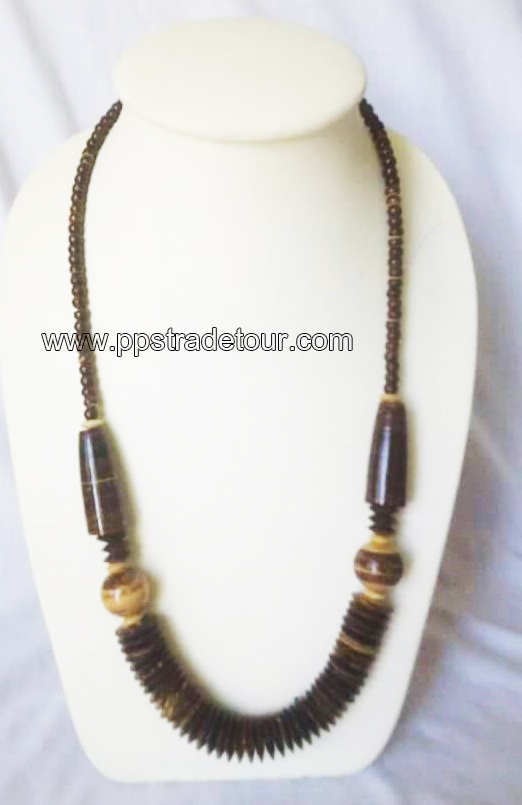 coconut shell bead necklace-5840