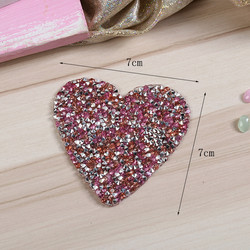 Heart Iron On Patches Hot fix Rhinestone Applique Patch Heat Transfers 3D Custom Bling Patch For Clo