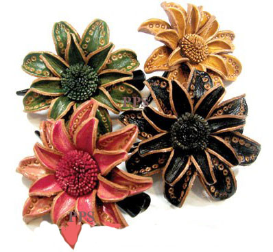 Leather Flower for hair Clips-g7