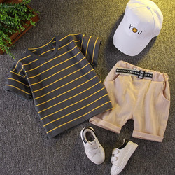 New style summer Toddler Boys 2 Pieces casual Clothing Set short sleeves striped T-shirt  + pants cl