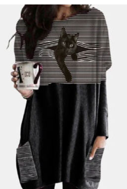 Black Cat Patched Print Long Sleeve O-neck White Striped Blouse Black Cat Patched Print Long Sleeve O-neck White Striped Blouse Black Cat Patched Print Long Sleeve O-neck White Striped Blouse      Black Cat Patched Print Long Sleeve O-neck White Striped Blouse SKUG53168