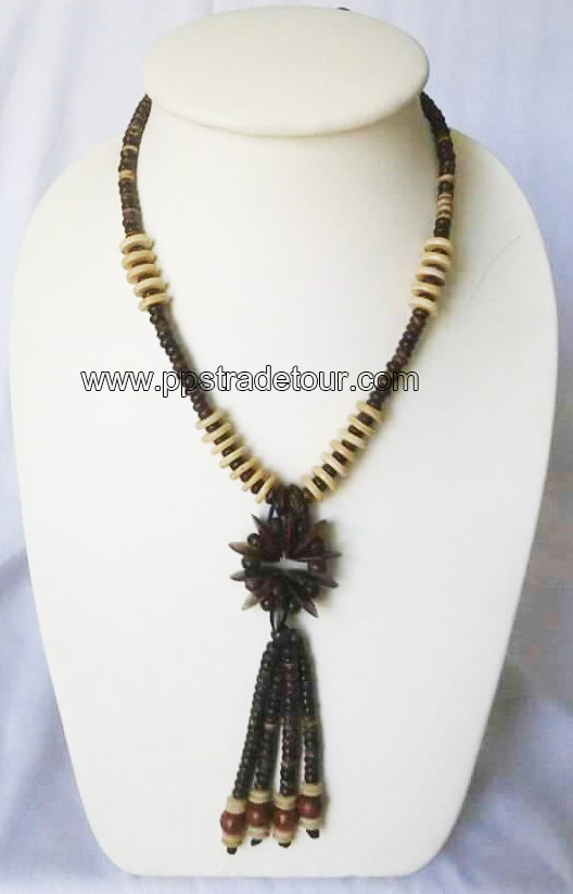 coconut shell bead necklace-5837