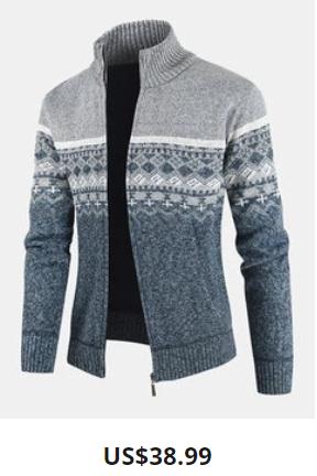 Mens Tribal Print Knitted Zipper Up Thick Rib Hem Casual Sweater Cardigan